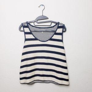 Madewell cream blue striped 100% cotton tank top